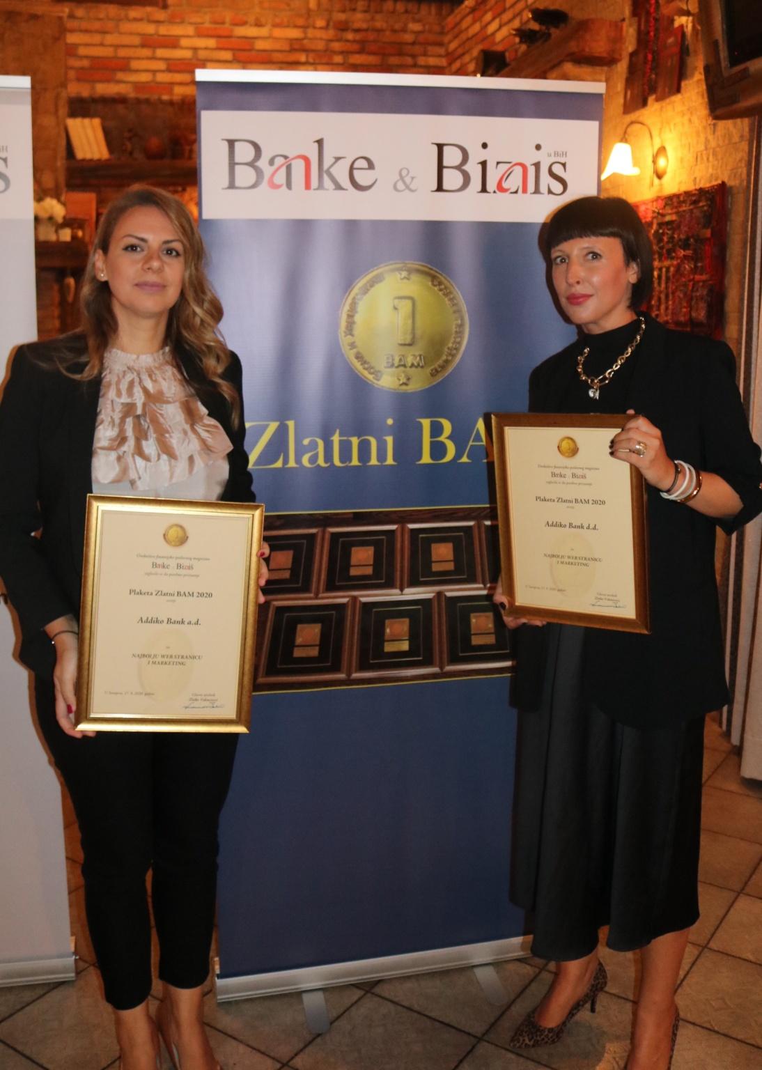 Zlatni BAM za marketing i web stranice za Addiko Bank